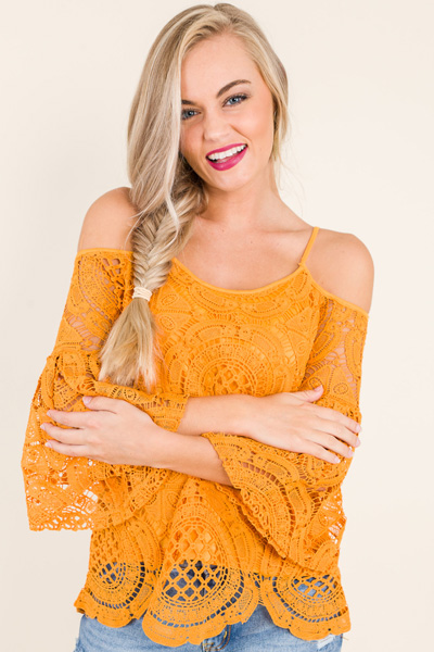 Cold Shoulder Crochet Top, Yellow