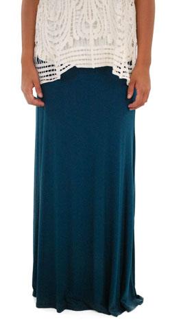 Solid Maxi Skirt, Jade