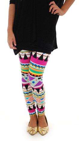 Bright Aztec Leggings, Purple