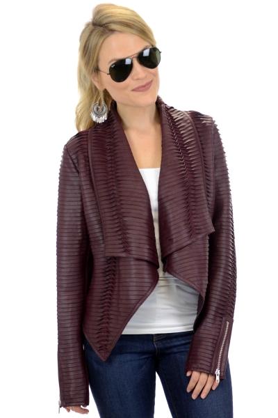 Pleated Leather Jacket