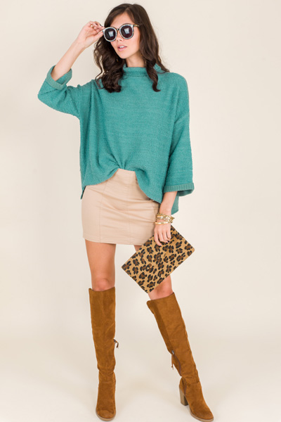 Rolled Sleeve Sweater, Teal