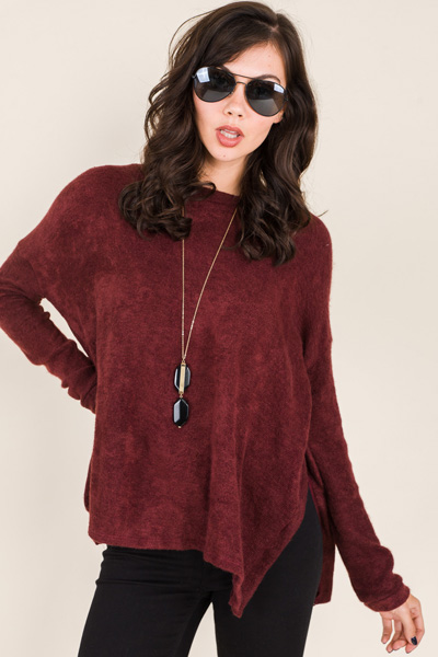 Boxy Murphy Sweater, Burgundy
