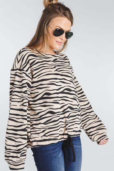 Drawstring Zebra Sweatshirt