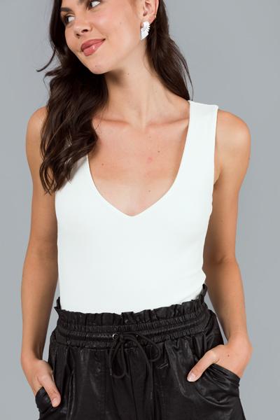 Plunge Knit Bodysuit, White