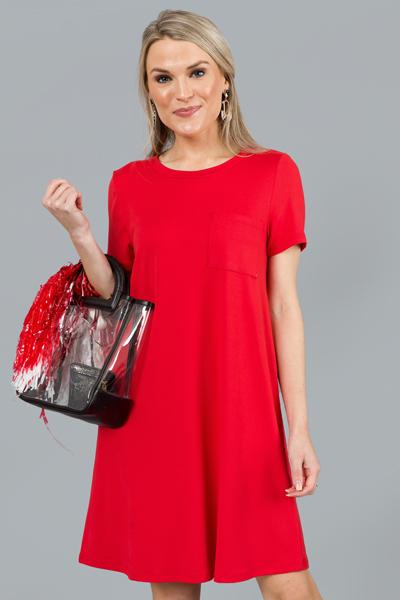 Simply Soft Tshirt Dress, Red