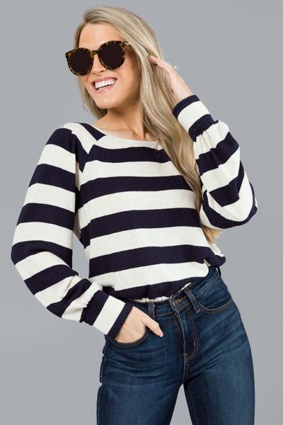 Soft Sailor Stripe Top, Navy
