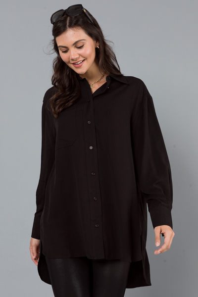 Oversized Button Down, Solid Black