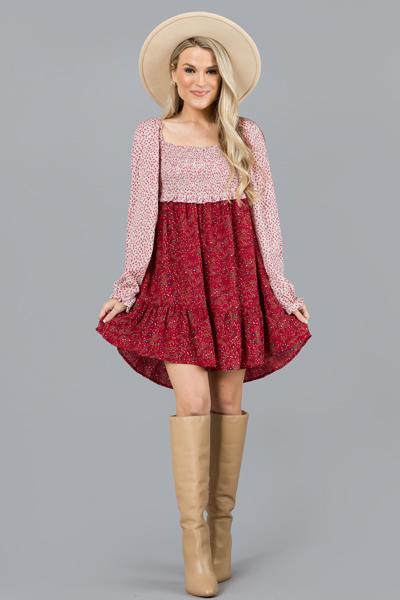 Metallic Floral Mix Dress, Red
