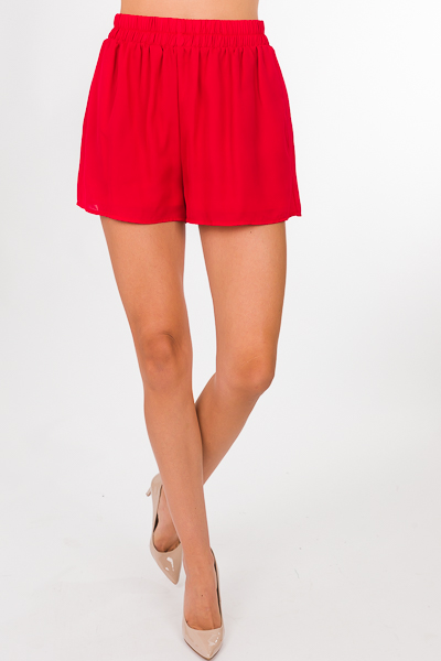 Woven Adri Shorts, Red