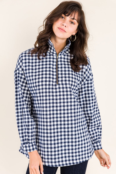 Brushed Plaid Zip Up
