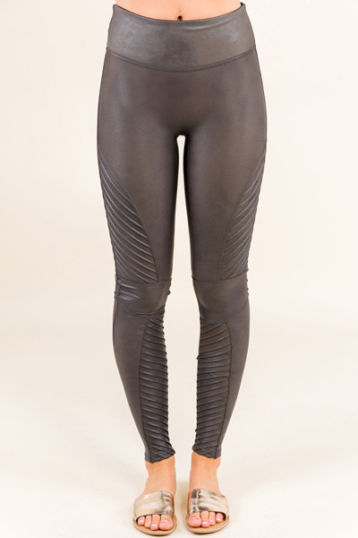 SPANX Leather Moto Legging, Gun