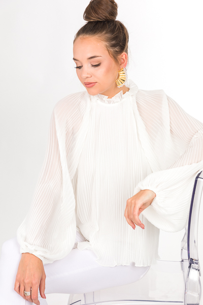 Fully Pleated Blouse, White