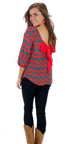 Code Red Bow Back Top