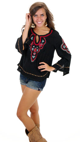 Stitched in Time Top, Black