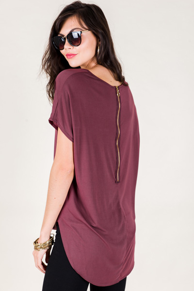 Back Zip Top, Wine