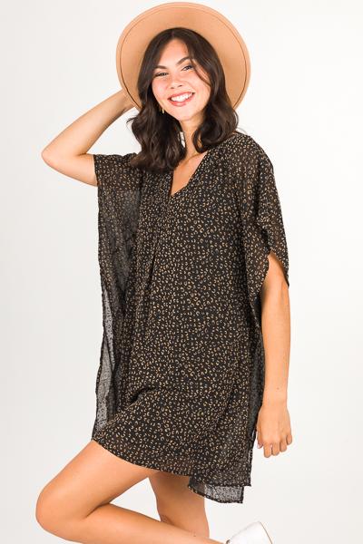 Leopard Burnout Caftan, Black