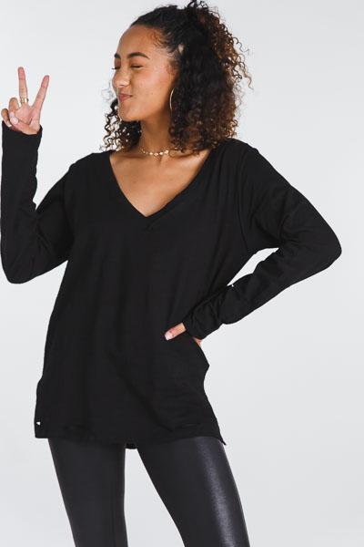 Long Sleeve V Tee, Black