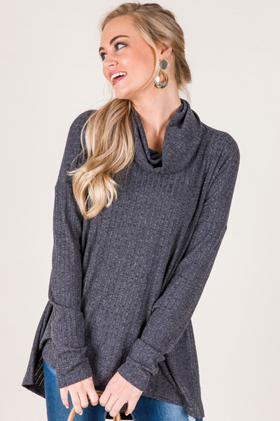Chris Ribbed Cowl Neck, Charcoal