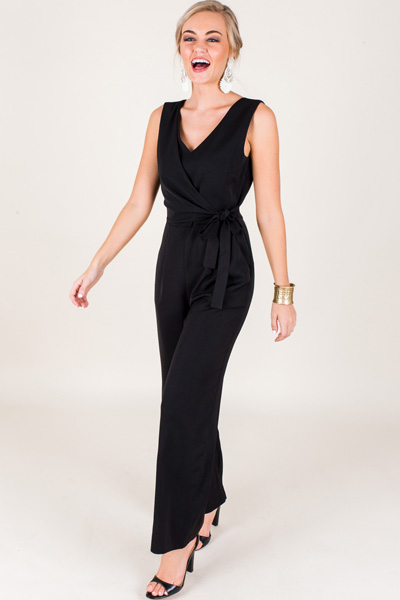 Wrap Waist Jumpsuit, Black