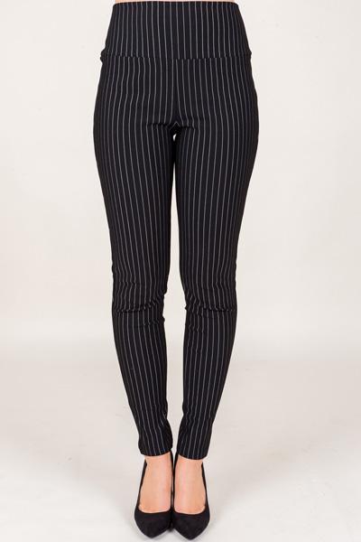 High Waist Ponte Pants, Stripe