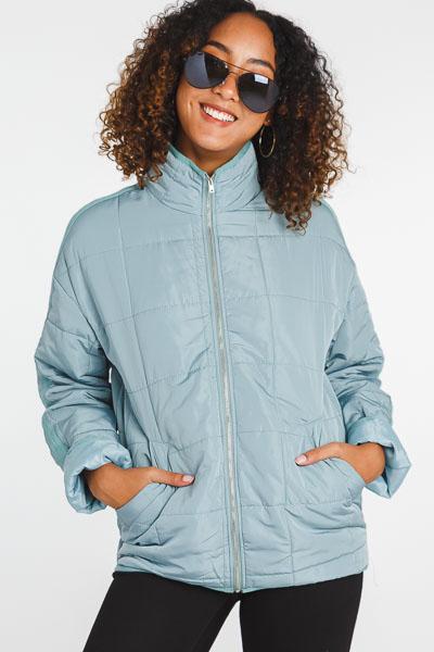 Quilted Zip Jacket, Sage