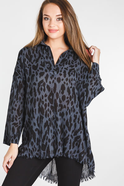 Frayed Hem Leopard Tunic, Charcoal