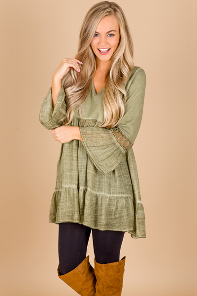 Crochet Sleeves Babydoll, Olive