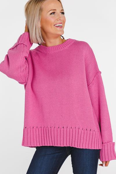 Cropped Cuffed Sweater, Bubblegum