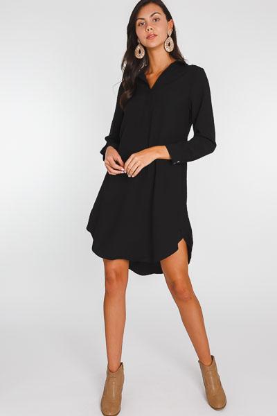 Collar Shirt Dress, Black