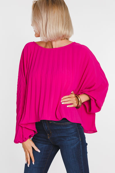 Pleated Batwing Top, Pink
