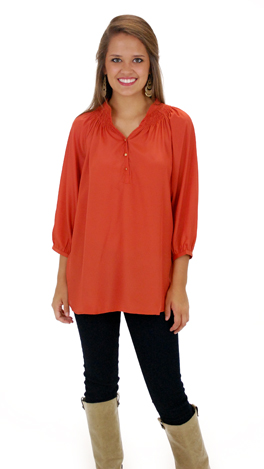 Here To Stay-ple Blouse, Rust