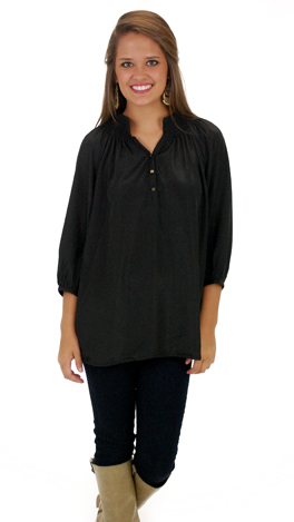 Here To Stay-ple Blouse, Black