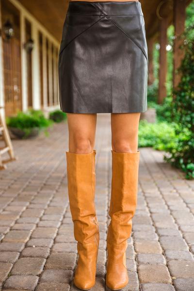 Eden Leather Skirt, Black