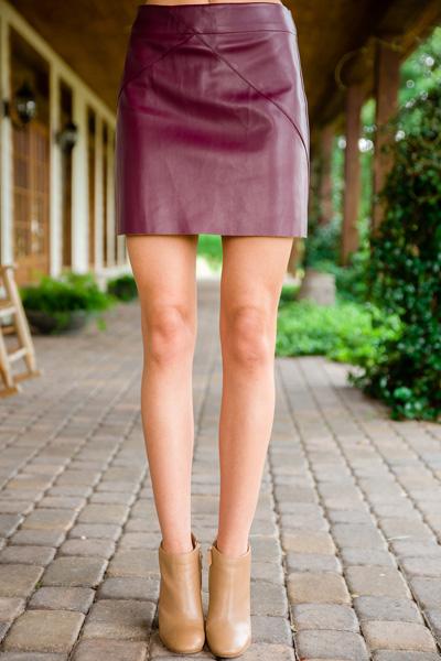 Eden Leather Skirt, Wine