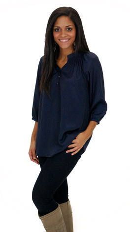 Here To Stay-ple Blouse, Navy