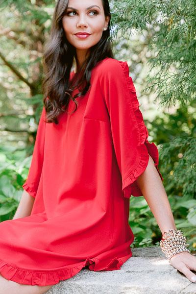 Ruffle Edge Shift Dress, Red