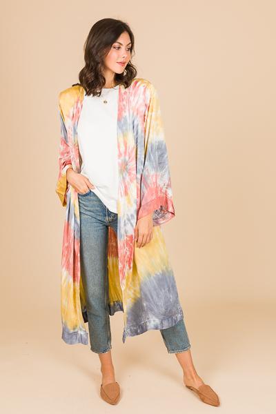 Silky Tie Dye Long Kimono