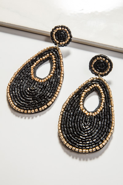 Beaded Teardrop, Black