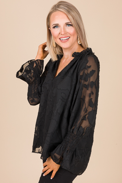 Love of Floral Blouse, Black