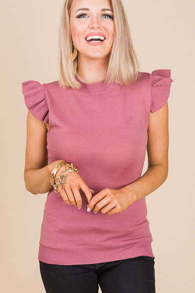 Ruffle Shoulder Fitted Top, Mauve