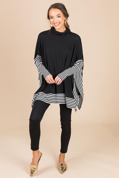 Edges In Stripes Tunic, Black