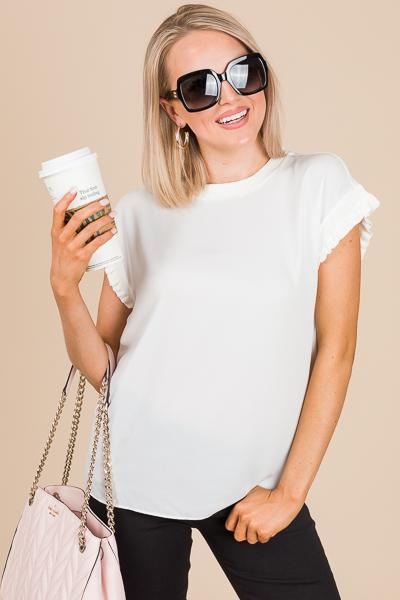 Libby Cap Sleeve Top, White