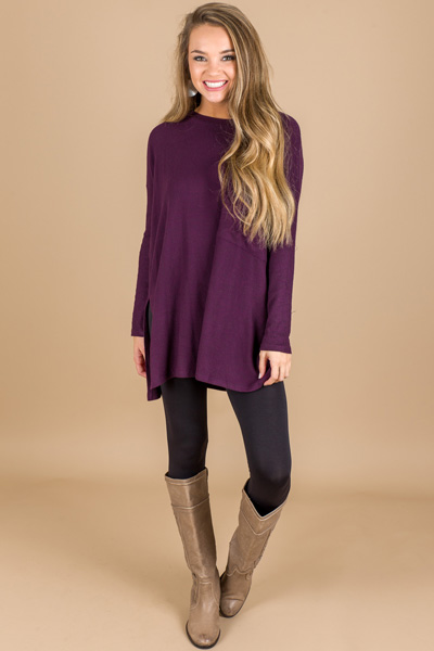 Change In My Pocket Tunic, Eggplant