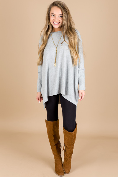 Boxy Dolman Sweater, Heather Grey
