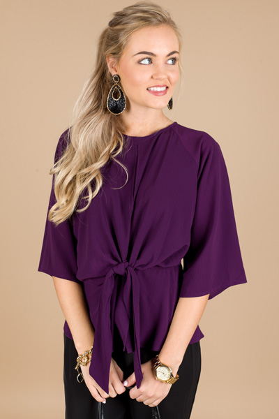 Knotted Crepe Blouse, Purple