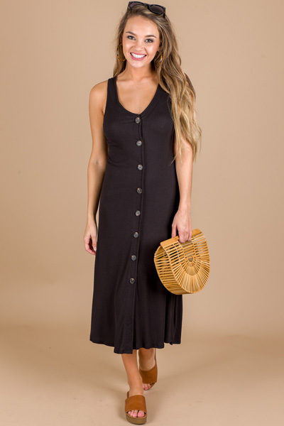 Button Front Midi, Black