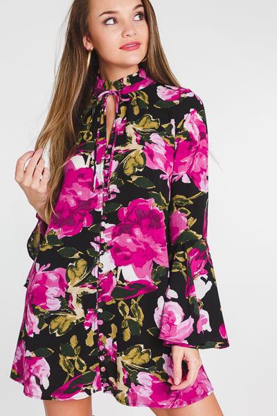 Fuchsia Floral Button Dress