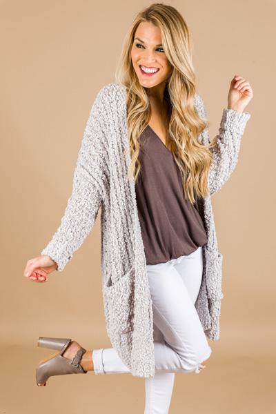 Caitlyn Textured Cardi, Grey