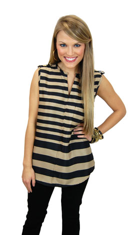 Earn Your Stripes Top, Taupe