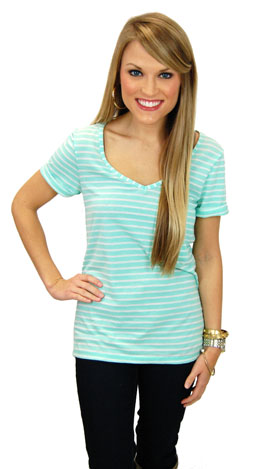 Simply Striped Tee, Mint